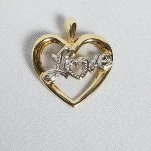 10k solid yellow white gold love heart pendant